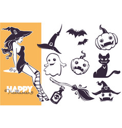 happy halloween line art objects collection vector image