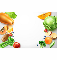 Healthy food organic fruit frame template vector