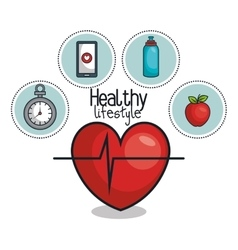 Healthy lifestyle elements icons design vector