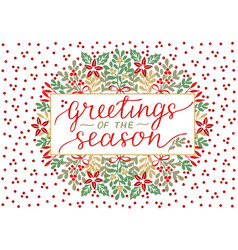 holiday card with inscription greeting of the vector image