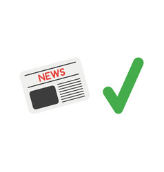 icon concept of newspaper with check mark vector image