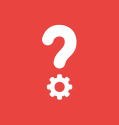 Icon concept of question mark with gear on red vector