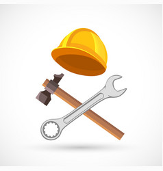 icon construction tool wrench hammer and helmet vector image