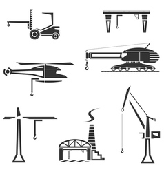Icons set of cranes vector