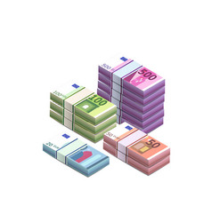 Large heap different euro banknotes in stacks vector