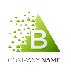 letter b logo symbol in colorful triangle vector image