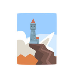 Little castle on top cliff fantasy fortress on vector