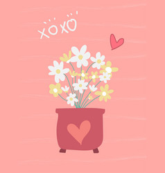 Love sweet pink card flower in pot flat design vector