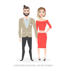 Loving couple in stylish clothes hold hands vector