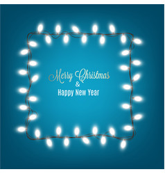 merry christmas and new year banner with lights vector image