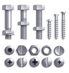 Metal screws steel bolts nuts nails and rivets vector