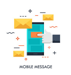 mobile message flat concept vector image