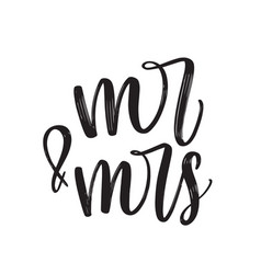Mr and mrs text written with elegant cursive vector