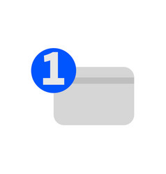 one number credit card flat icon vector image
