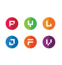 P y l j f v initial logo design random set vector