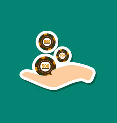 Paper sticker on stylish background casino chips vector
