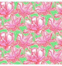 Pattern with field of bright peony flowers vector