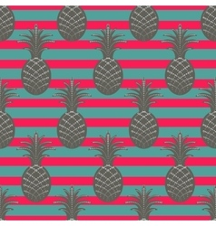 Pineapple seamless pattern on stripe background vector image