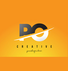 Po p o letter modern logo design with yellow vector