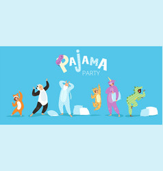 pyjamas people funny characters kids female and vector image