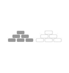 Pyramid grey set icon vector