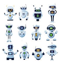 Robots and chatbots cartoon ai bots and cyborgs vector