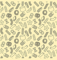 seamless pattern with different types pasta vector image