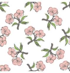 Seamless pattern with stylization apple twig vector image