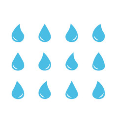 set blue water drop symbols vector image