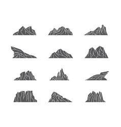 set mountains line art logo design vector image