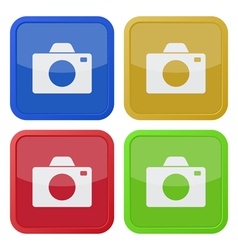 set of four square icons with camera vector image