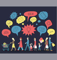 Set of walking people with speech bubbles vector