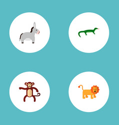 Set of zoology icons flat style symbols with lion vector