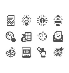 Set technology icons such as brand ambassador vector
