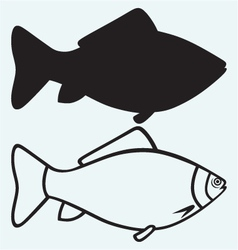 Silhouette fish vector image