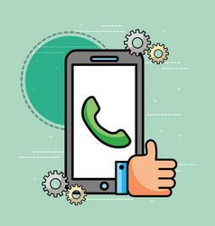 smartphone telephone hand like customer service vector image