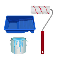 Soft roll bucket full of paint and plastic stand vector