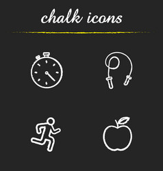 sport and fitness chalk icons set vector image