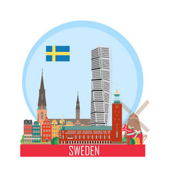 sweden background with national attractions vector image