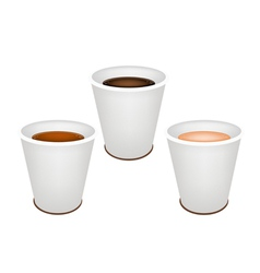 Three Kind of Coffee in Disposable Cups vector image