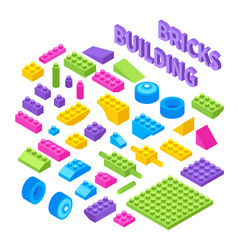 toy constructor isometric blocks vector image
