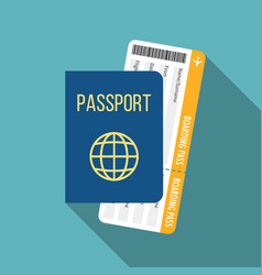 travel icon passport and boarding pass vector image