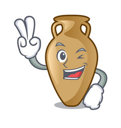 two finger amphora character cartoon style vector image