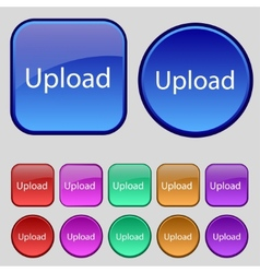 Upload sign icon Load symbol Set of colored vector