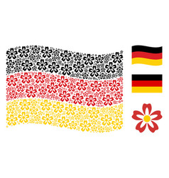 waving german flag collage of flower items vector image
