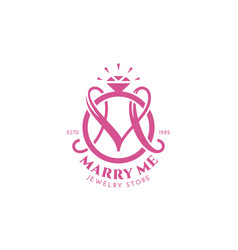 wedding ring monogram m vector image