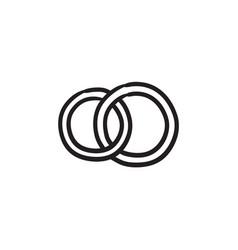 Wedding rings sketch icon vector