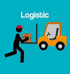 worker logistic service silhouette vector image