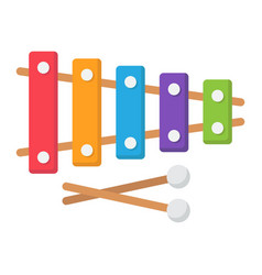 Xylophone flat icon music and instrument vector