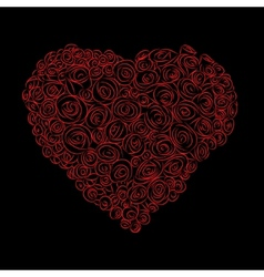 heart of red roses vector image